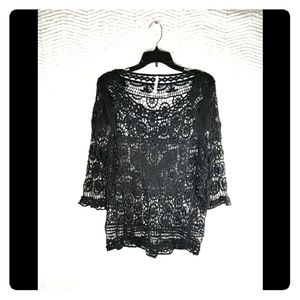 India Boutique Crochet Butterfly Swim Cover Up OS